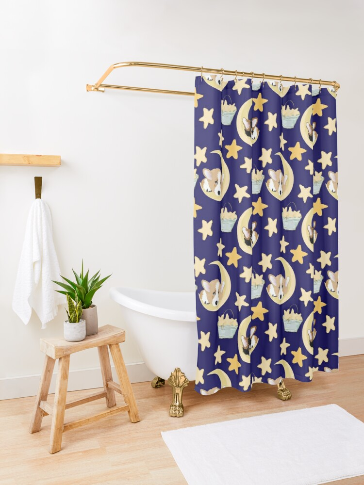 Alternate view of My Corgi World - Majesty Pembroke - Cute welsh cardigan corgis on the moon Shower Curtain