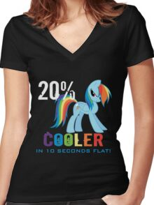 20% cooler in 10 seconds flat! Ladies Women's Fitted V-Neck T-Shirt