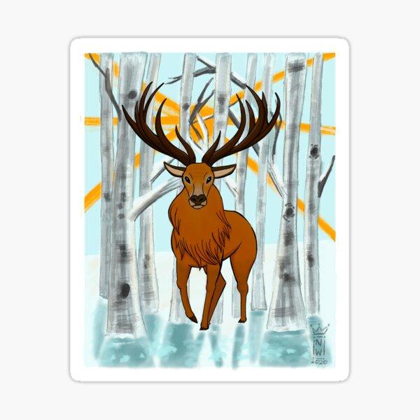 Deer in Winter Sun Sticker