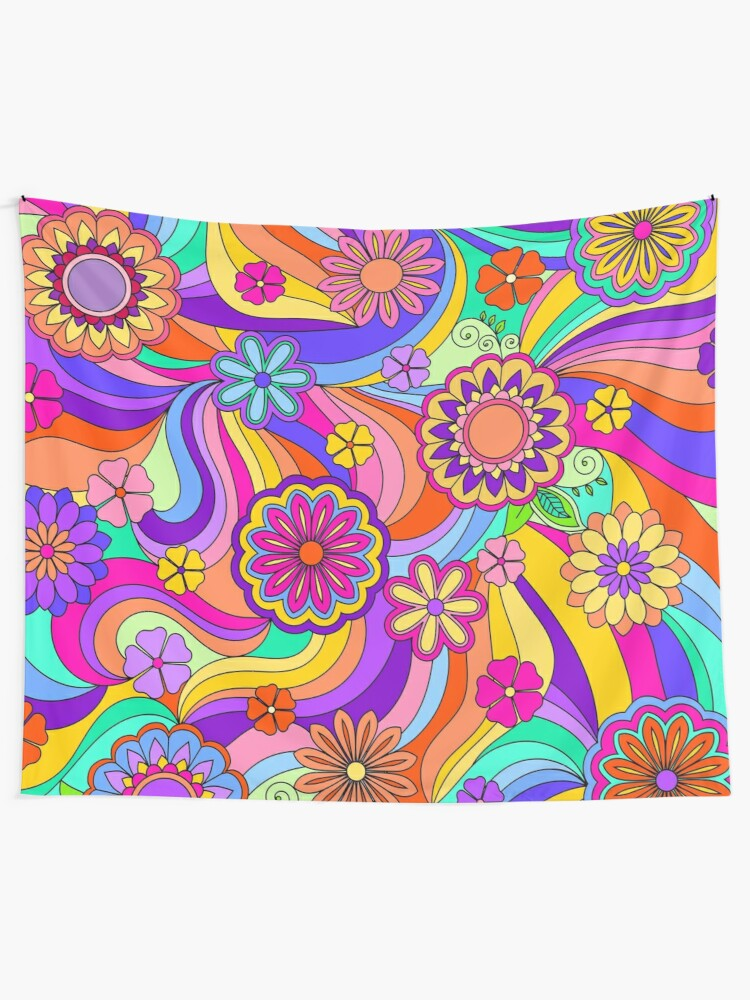 Alternate view of Groovy Psychedelic Flower Power Tapestry
