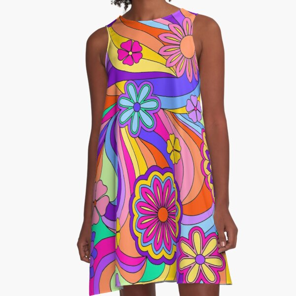 Groovy Psychedelic Flower Power A-Line Dress