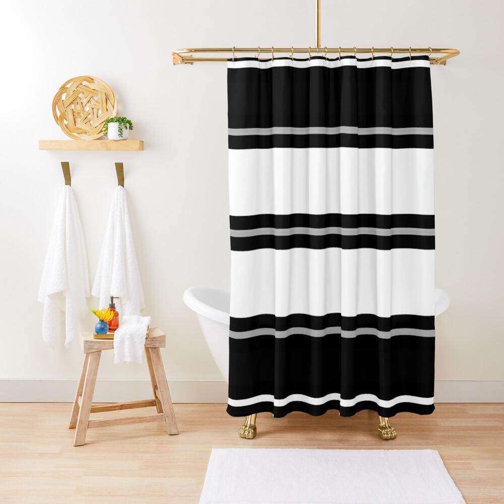 Minimal Abstract Black White 01 Shower Curtain