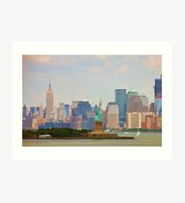 Statue of Liberty and Empire State Building Art Print