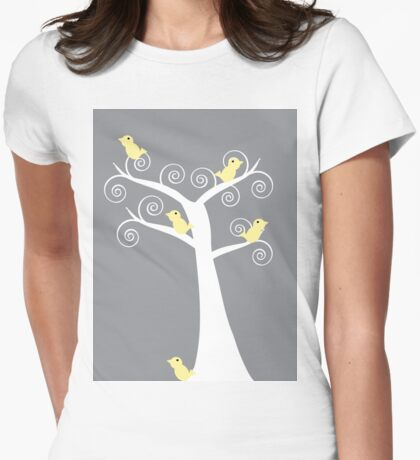 5 Yellow Birds in a Tree (Gray Background) T-Shirt