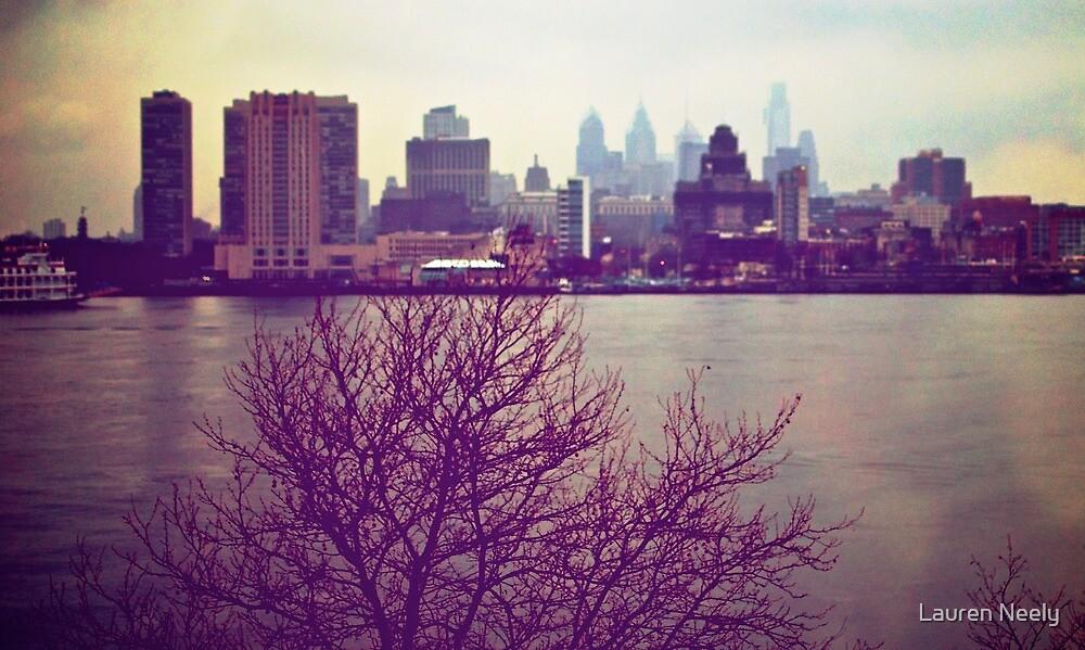 Vintage View of Philadelphia From Afar by Lauren Neely