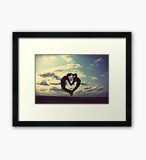 hands on our hearts, hearts in our sky Framed Print