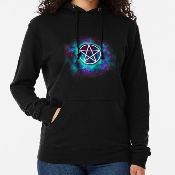 Turquoise & green Wiccan pentacle Lightweight Hoodie