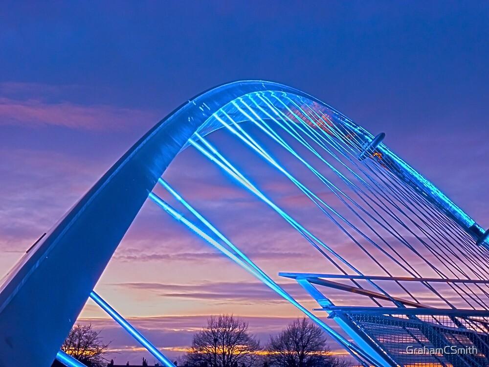 Millenium Bridge in lights, York, England by GrahamCSmith