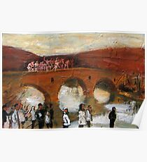 Jump - in the icy river for the cross figurative painting Poster