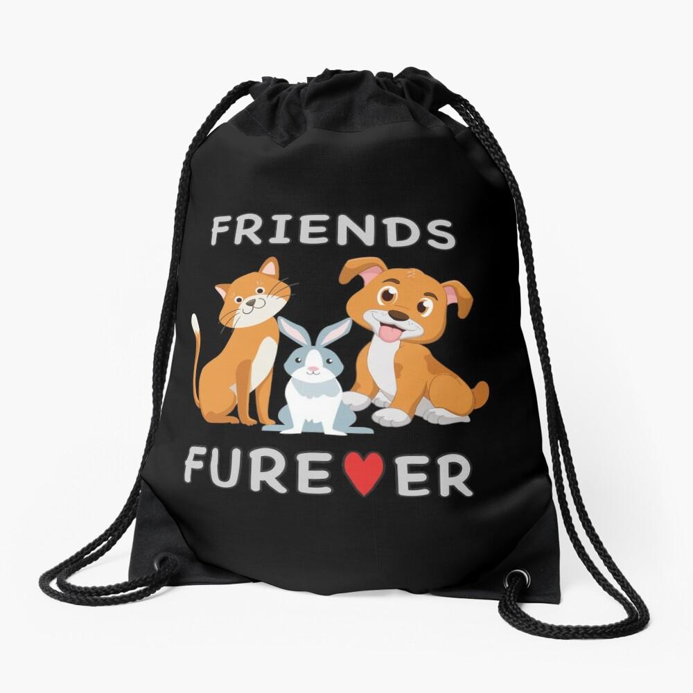 Friends Forever BFF Dog Cat Bunny Rabbit Kids Gift. Drawstring Bag