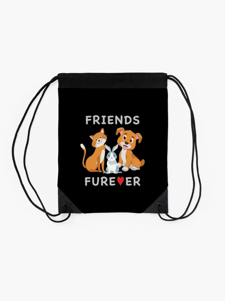 Alternate view of Friends Forever BFF Dog Cat Bunny Rabbit Kids Gift. Drawstring Bag