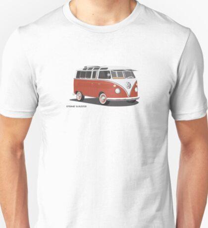 VW Bus T2 Samba Red Blk T-Shirt