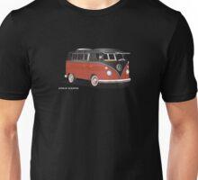VW Bus T2 Samba Red Blk Whte Unisex T-Shirt