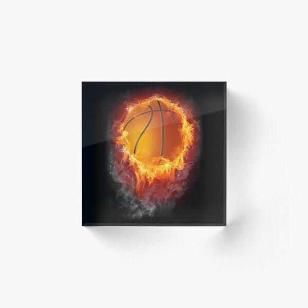 A basketball on fire  Acrylic Block