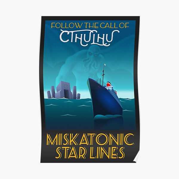 Follow the Call of Cthulhu - Black border Poster
