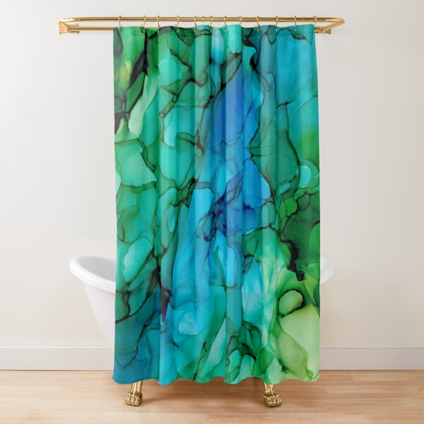 Valley River: Blue and Green Original Abstract Alcohol Ink Painting Shower Curtain
