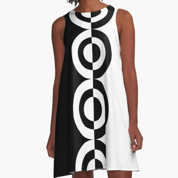Retro Sixties Mod Contrast Circles A-Line Dress