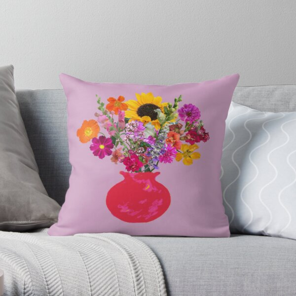 Bright pink vase still life on lavender by Tea with Xanthe Throw Pillow