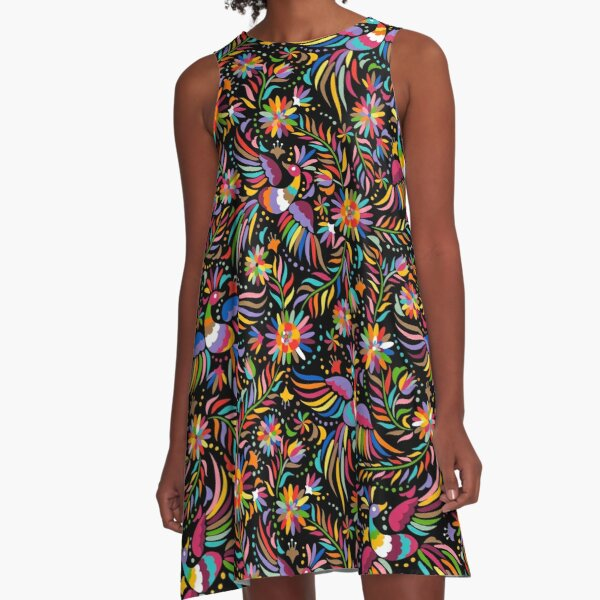 Mexican black pattern A-Line Dress