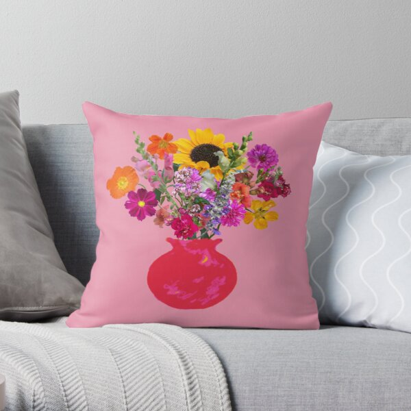 Bright pink vase still life on pink by Tea with Xanthe Throw Pillow