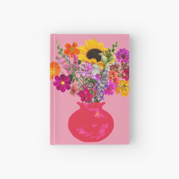 Bright pink vase still life on pink by Tea with Xanthe Hardcover Journal