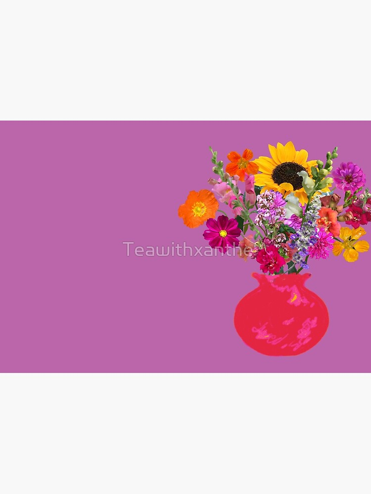 Bright pink vase still life on mauve by Tea with Xanthe by Teawithxanthe