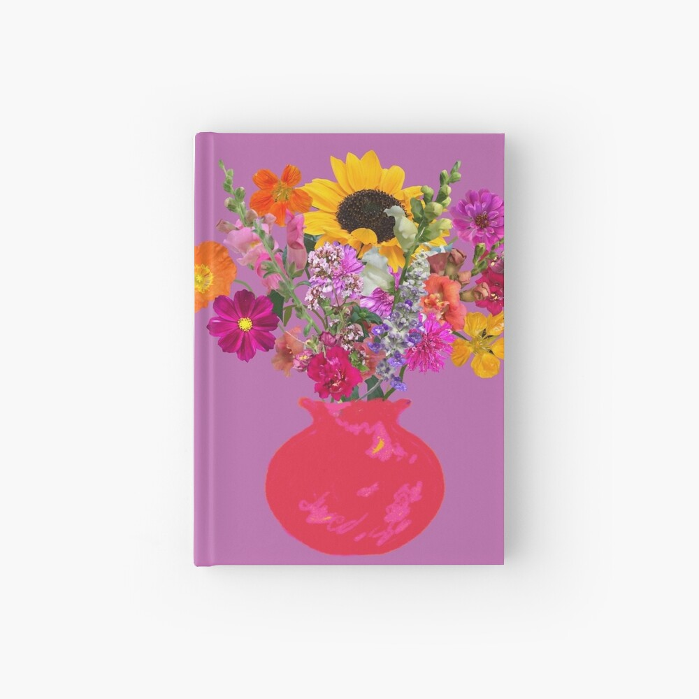 Bright pink vase still life on mauve by Tea with Xanthe Hardcover Journal