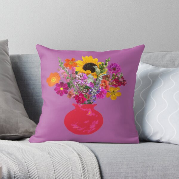 Bright pink vase still life on mauve by Tea with Xanthe Throw Pillow