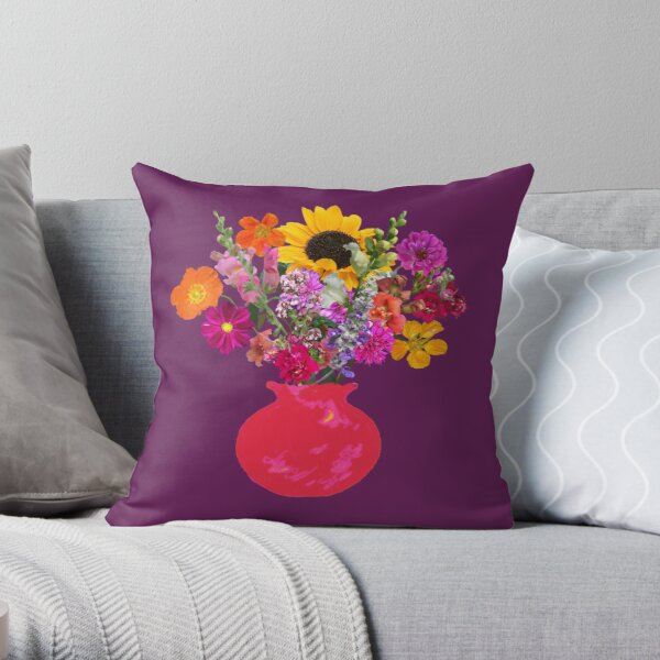 Bright pink vase still life on plum by Tea with Xanthe Throw Pillow
