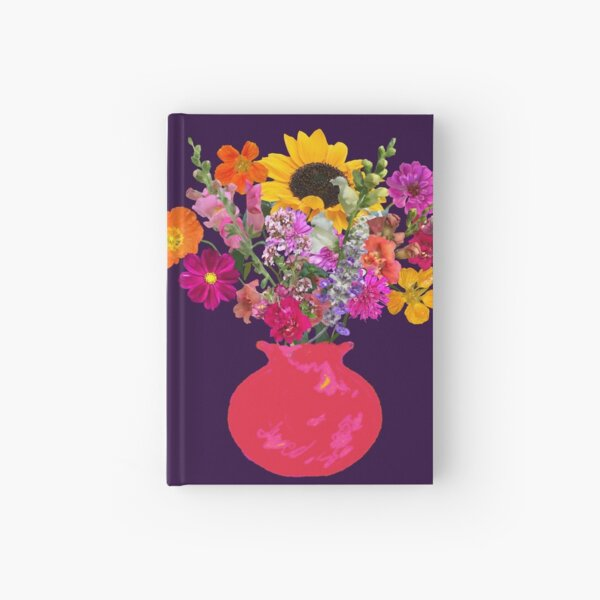 Bright pink vase still life on deep purple by Tea with Xanthe Hardcover Journal