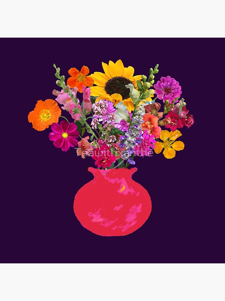 Bright pink vase still life on deep purple by Tea with Xanthe by Teawithxanthe