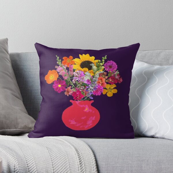 Bright pink vase still life on deep purple by Tea with Xanthe Throw Pillow