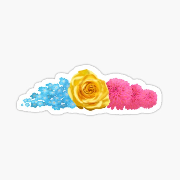 subtle pan pride flowers Glossy Sticker