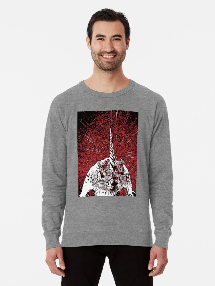 Alternate view of The Overlord Unicorned Squirrels From Mars Lightweight Sweatshirt