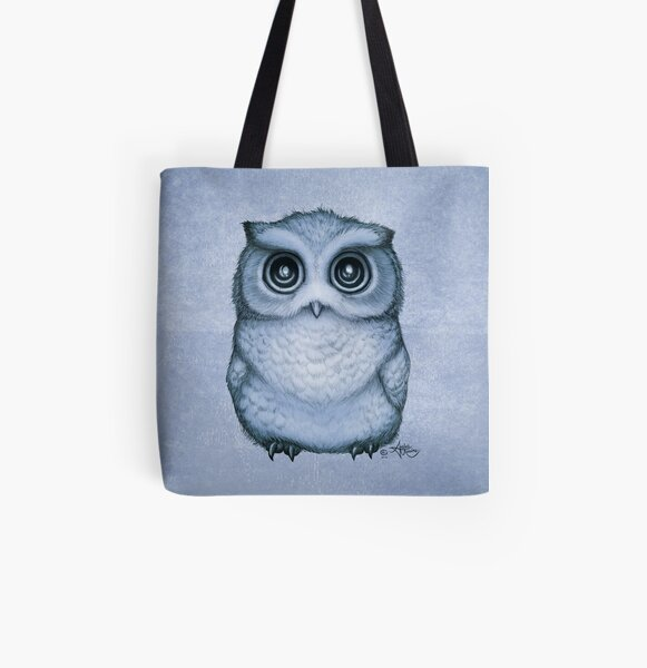 """The Little Owl"" by Amber Marine, (Blueberry Version) Pencil and Ink Illustration (Copyright 2016) All Over Print Tote Bag"