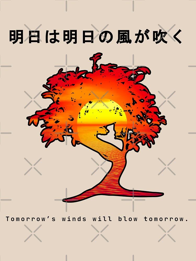 Japanese Wisdom, Bonsai Sunset Affirmation. Tomorrows Wind by ninjainatux