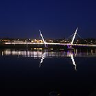 Derry/Londonderry Peace bridge at midnight by Kevin  Carlin