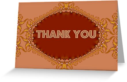 'Golden Fractal Lace Thank You Card' Greeting Card by webgrrl