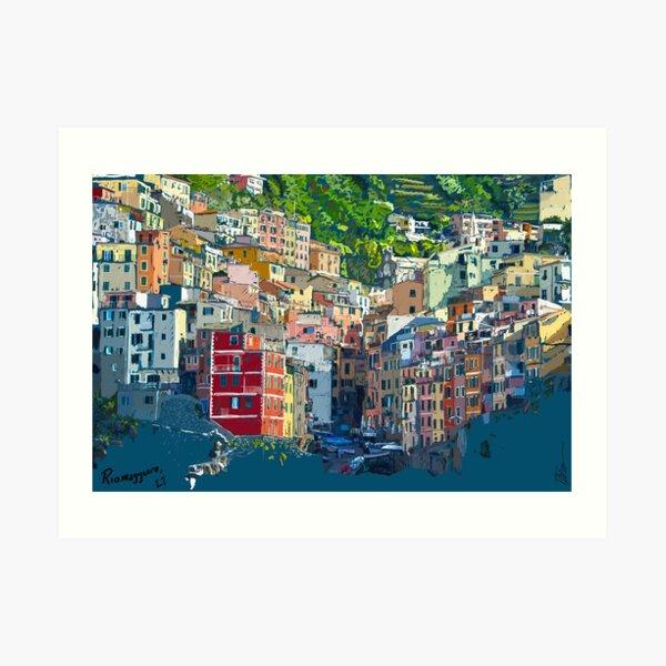Riomaggiore Cique Terra Italy view from the sea drawing Art Print