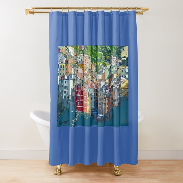 Riomaggiore Cique Terra Italy view from the sea drawing Shower Curtain