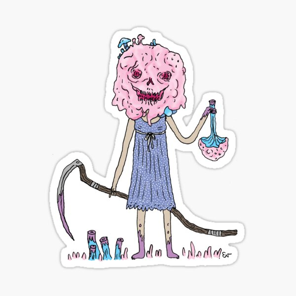 Mushrooms Reaper Girl Sticker