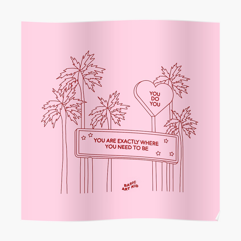 You Are Exactly Where You Need To Be Aesthetic Simple Line Drawing Postcard By Basicartkid Redbubble