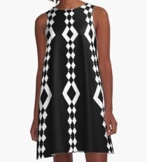 Retro 1960's Black and White Pattern A-Line Dress