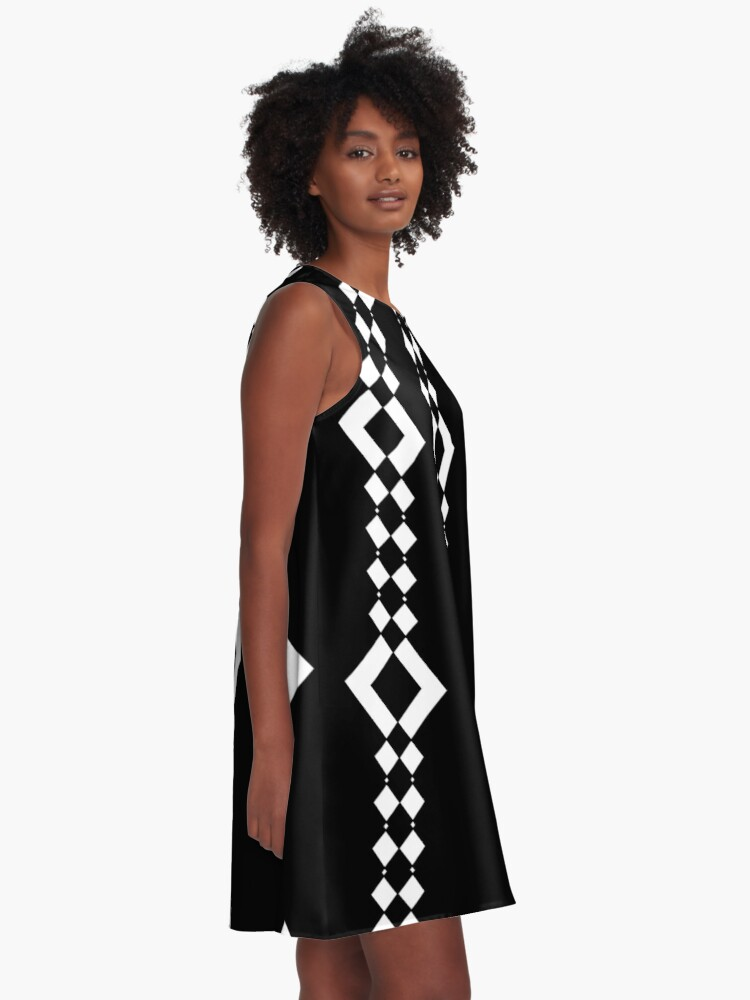 Alternate view of Retro 1960's Black and White Pattern A-Line Dress