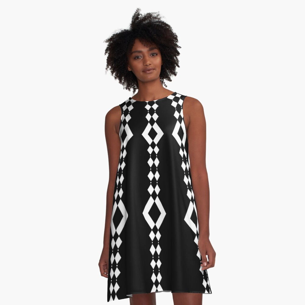 Retro 1960's Black and White Pattern A-Line Dress
