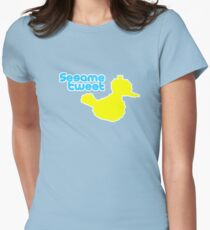Sesame Tweet - Blue Text Womens Fitted T-Shirt