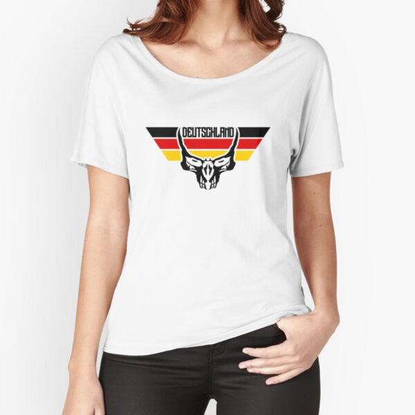 German flag with skull Relaxed Fit T-Shirt