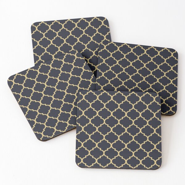 Midnight Blue and Gold Moroccan Trellis Pattern Coasters (Set of 4)