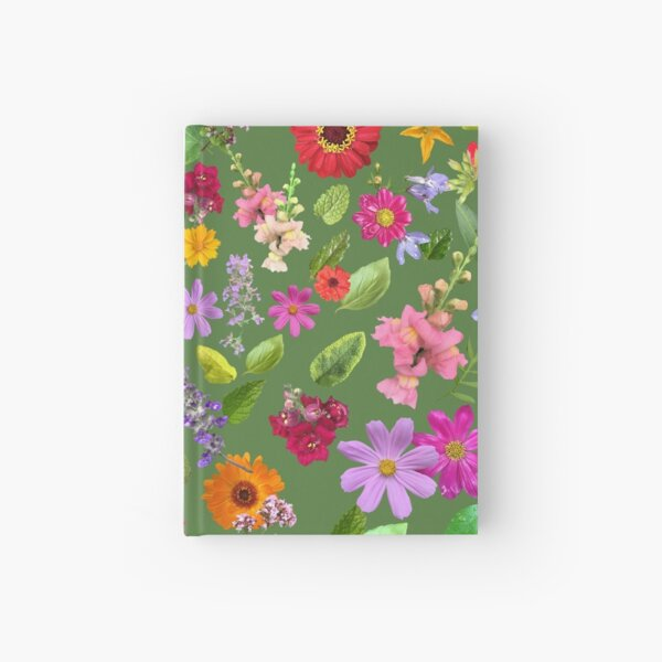 Late June in the garden in grass green by Tea with Xanthe Hardcover Journal