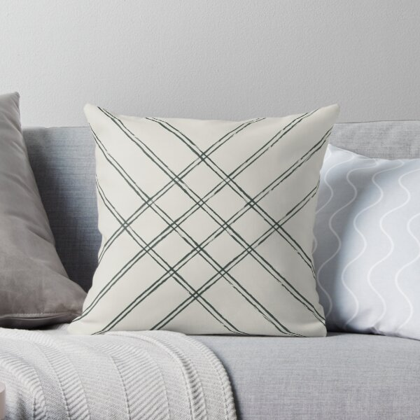 Crossed Stripes greyed green and white Throw Pillow